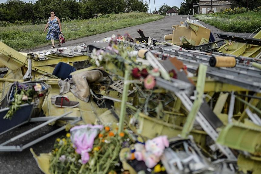 A woman walks past pieces of the wreckage of the Malaysia Airlines flight MH17 near the village of Grabove, in the region of Donetsk on July 20, 2014. The missile system used to shoot down a Malaysian airliner was given to pro-Russian separatists in