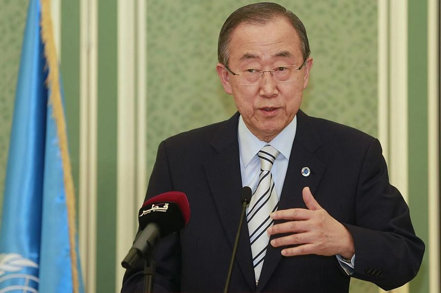 """UN Secretary-General Ban Ki-moon, who is in the Middle East in a bid to help broker a ceasefire, condemned on Sunday as an """"atrocious action"""" the killings in Shejaia and called for an immediate end to the fighting.-- PHOTO: REUTERS"""
