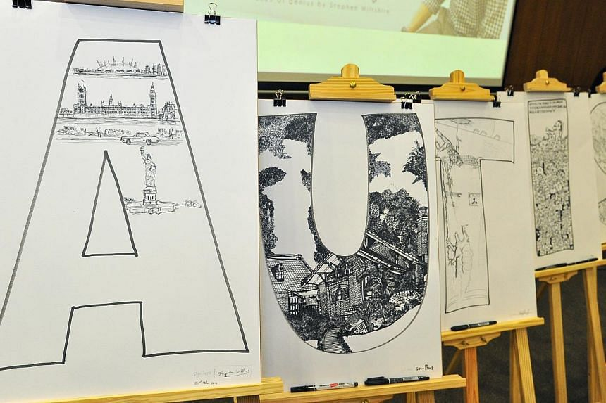 Sketch by Stephen Wiltshire on the extreme left, together with other sketches done by students from Pathlight School's Artist Development Program on July 21, 2014. -- ST PHOTO: LIM YAOHUI FOR THE STRAITS TIMES