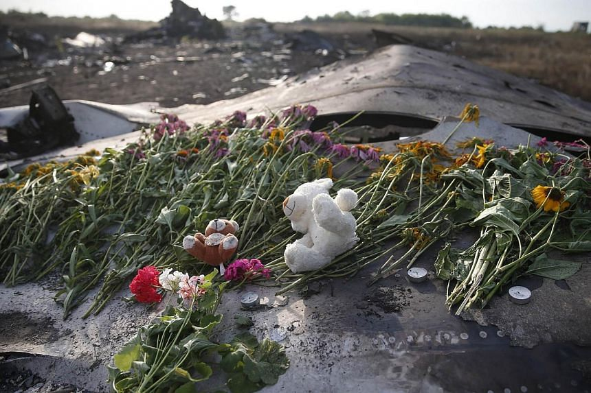 Flowers and mementos lie on wreckage at the crash site of Malaysia Airlines Flight MH17, near the settlement of Grabovo in the Donetsk region July 19, 2014. -- PHOTO: REUTERS