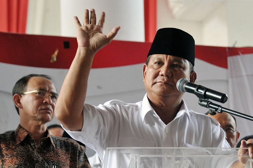 Indonesian presidential candidate Prabowo Subianto delivers his statement prior to the election count announcement in Jakarta on July 22, 2014. -- PHOTO: AFP