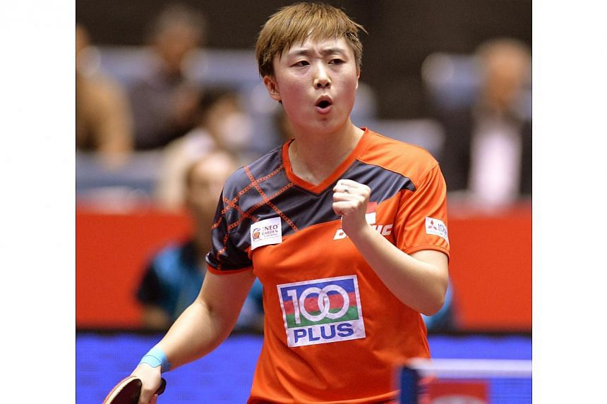 Feng Tianwei insists Singapore can be confident of repeating their dominance of New Delhi in the table tennis at the Glasgow Commonwealth Games. -- PHOTO: AFP