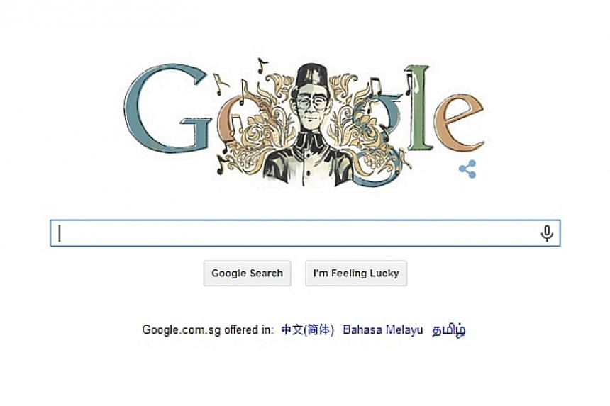 Today's Google doodle celebrates Singaporean musical icon Zubir Said, who is best known for composing Singapore's national anthem. -- PHOTO: SCREEN CAPTURE FROM GOOGLE.COM