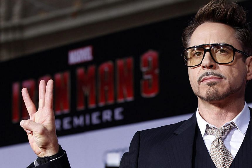 "Cast member Robert Downey Jr. poses at the premiere of ""Iron Man 3"" at El Capitan theatre in Hollywood, California in this April 24, 2013. -- PHOTO: REUTERS"