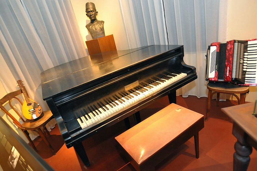 The Strohmenger grand piano which belonged to the late Zubir Said, who composed Singapore's national anthem Majulah Singapura, at the Malay Heritage Centre on Nov 15, 2012. -- PHOTO: ST FILE