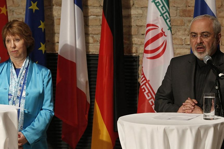 EU foreign policy chief Catherine Ashton (left) and Iranian Foreign Minister Mohammad Javad Zarif attend a news conference during the previous round of negotiations in Vienna on July 18, 2014. Iran said on Wednesday, July 23, 2014, that nuclear