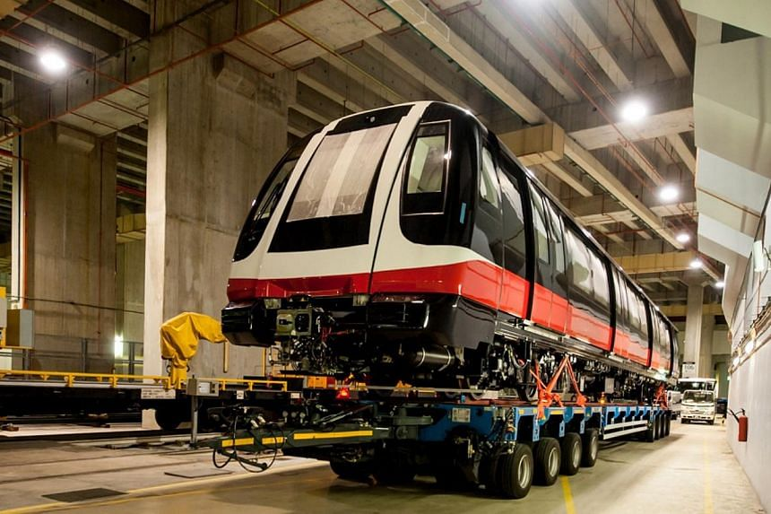 The first of 24 new Circle Line and 18 new North East Line trains have arrived in Singapore. -- PHOTO:LAND TRANSPORT AUTHORITY