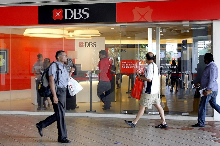 People walk past the DBS branch at Rochor Centre. -- PHOTO: ST FILE