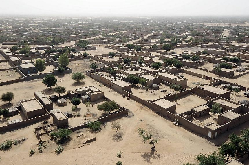 An aerial view of Gao, northern Mali on February 17, 2013. The Air Algerie plane is reported to have disappeared in the vicinity of this area. -- PHOTO: AFP