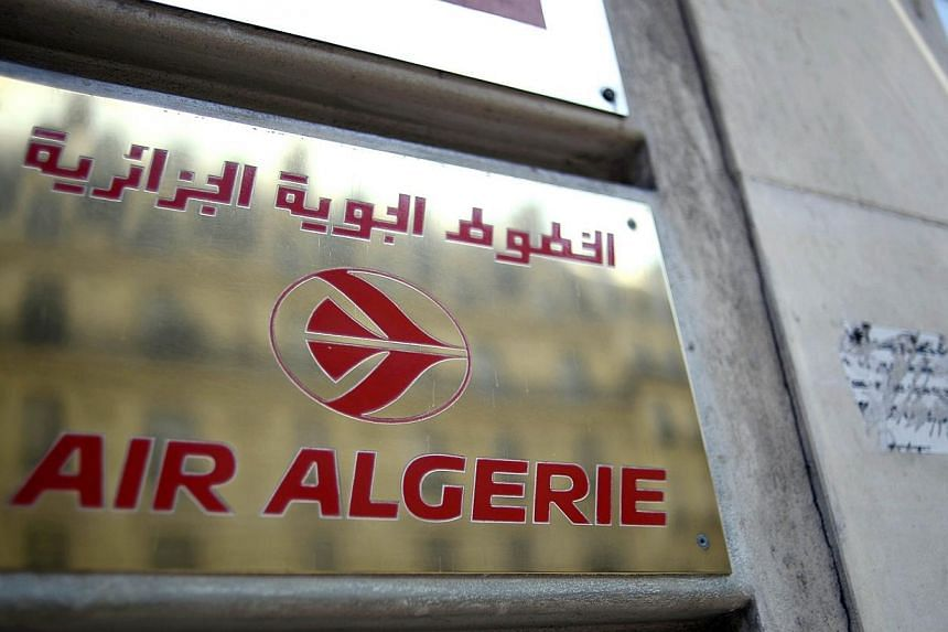 A plaque of an Air Algerie airlines office in Paris on July 24, 2014. -- PHOTO: AFP