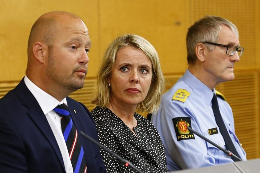 (From left) Mr Anders Anundsen, Norway's minister of justice and public security, Ms Benedicte Bjoernland, head of the Police Security Service, PST, and Mr Vidar Refvik, head of the police force, hold a news conference in Oslo on July 24, 2014. -- PH
