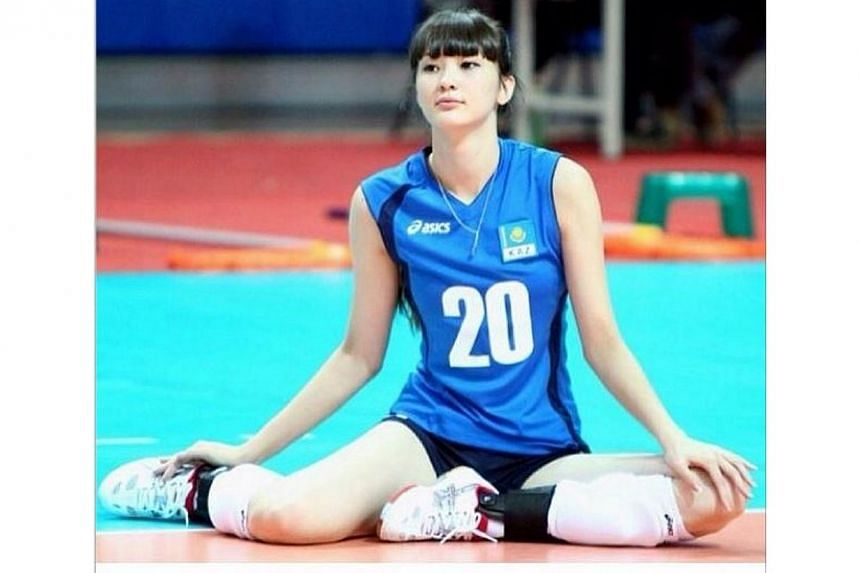 Sweet-faced Kazakhstan volleyball player Sabina Altynbekova, 17, has been the star of the 17th Asian Women's U19 Volleyball Championship in Taipei. -- PHOTO:SABINA ALTYNBEKOVA/INSTAGRAM