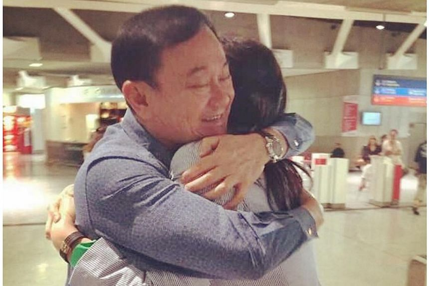 Former Thai prime minister Yingluck Shinawatra on Thursday reunited with her brother Thaksin Shinawatra, in Paris, Thai media reported. -- PHOTO: PANTHONGTAE SHINAWATRA/INSTAGRAM