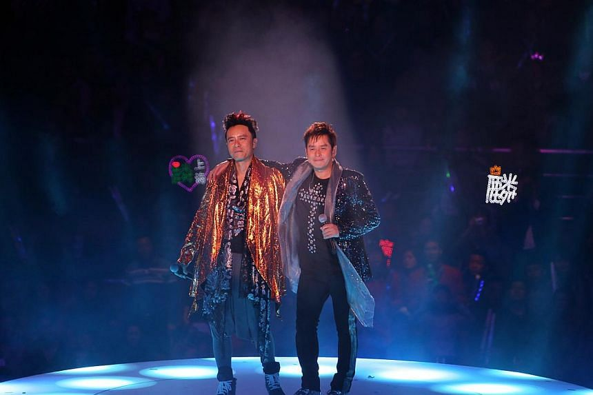 Hong Kong singers Alan Tam (right) and Hacken Lee (left) are now more friends than mentor and disciple. -- PHOTO: UNUSUAL ENTERTAINMENT