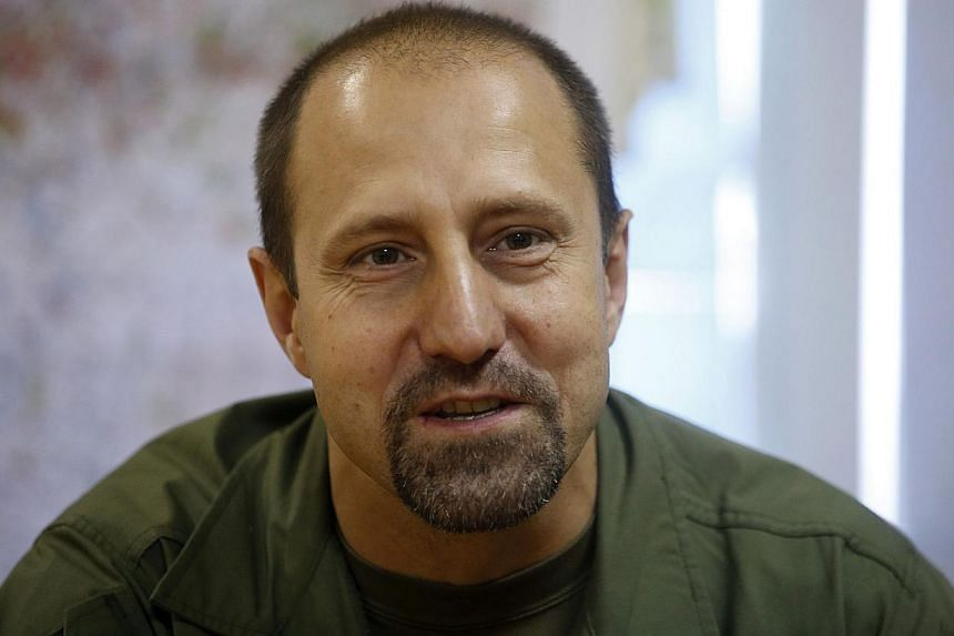 Rebel commander Alexander Khodakovsky of the Vostok Battalion speaks during an interview in Donetsk in this July 8, 2014 file photo. -- PHOTO: REUTERS