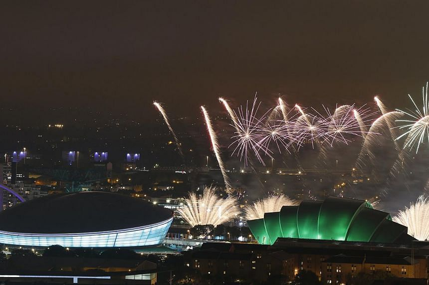 Fireworks light up the sky during the opening ceremony of the 2014 Commonwealth Games at Celtic Park in Glasgow on on July 23, 2014. -- PHOTO: AFP