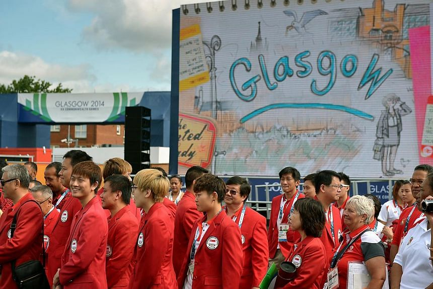 Team Singapore contingent at the welcome ceremony for Singapore held at the international zone within the games village during the 2014 Commonwealth Games in Glasgow, Scotland on July 21, 2014. -- ST PHOTO: KUA CHEE SIONG