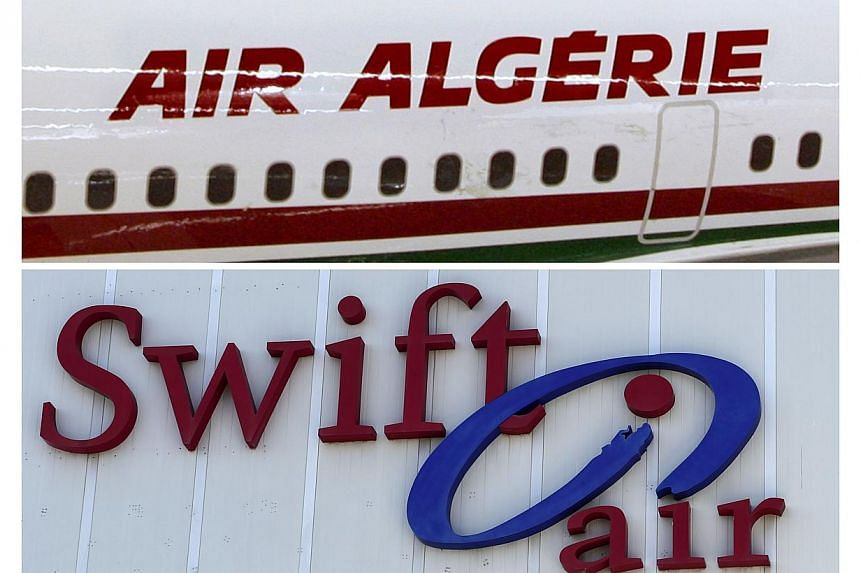 This combination of images made on July 24, 2014 shows the logos of Algerian airline company Air Algerie and Spanish transport company Swiftair following the disappearance of an Air Algerie MD-83 operated aircracaft over Africa and leased by Swiftair