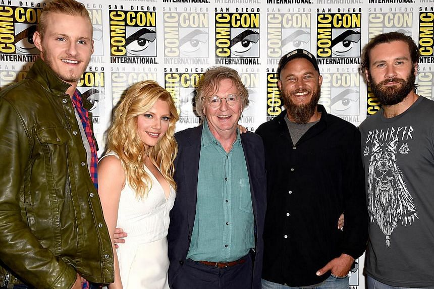 (From left) Actor Alexander Ludwig, actress Katheryn Winnick, producer Michael Hirst, actor Travis Fimmel and actor Clive Standen attend the Vikings press line during Comic-Con International 2014 at Hilton Bayfront in San Diego, California on July 25