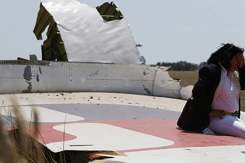Angela Dyczynski sits on a piece of wreckage of the downed Malaysia Airlines Flight MH17. -- PHOTO: REUTERS