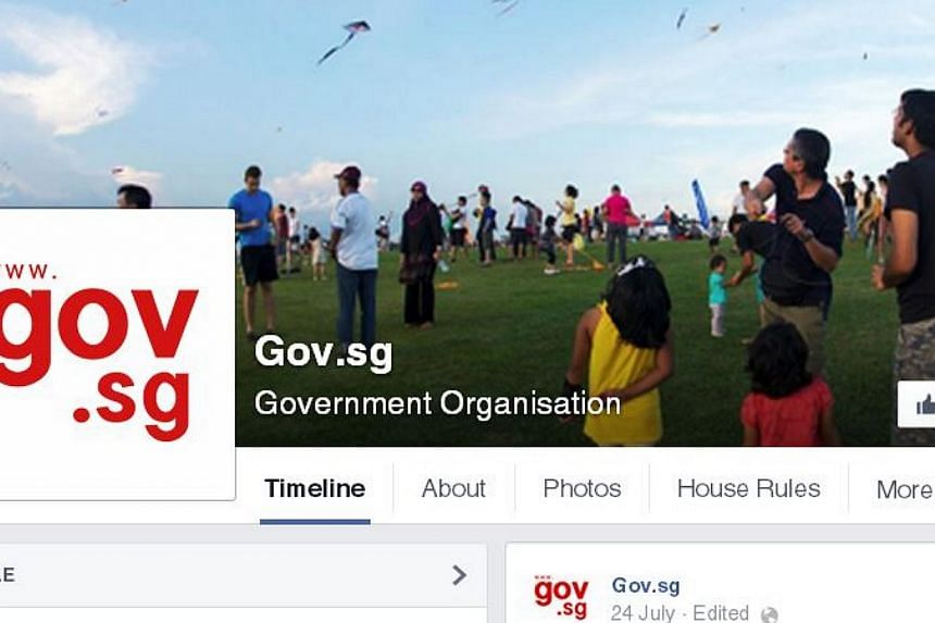 A new Facebook page featuring the latest government news and views as well as nuggets on Singapore, festivals and happenings has been launched at www.facebook.com/gov.sg. -- SCREENGRAB: FACEBOOK/GOV.SG