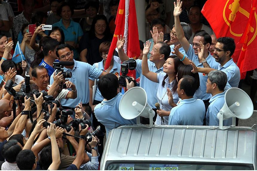 MP-elect Lee Li Lian, Workers' Party (WP) chief Low Thia Khiang, chairman Sylvia Lim, and other WP MPs waving to Punggol East residents during the party's thank-you parade around the Punggol East ward.The Workers' Party (WP) on Sunday, July 2