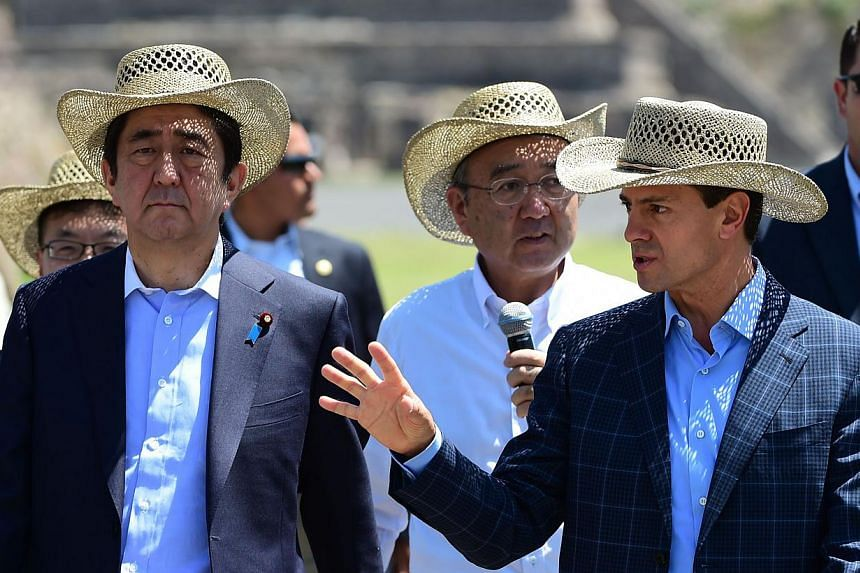 Japanese Prime minister Shinzo Abe (left) listens to Mexican President Enrique Pena Nieto (right) during a visit to Teotihuacan, Mexico State on July 26, 2014. -- PHOTO: AFP