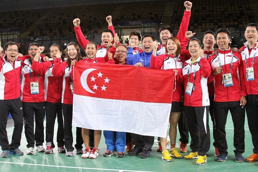 Singapore clinched the bronze medal in the badminton mixed team competition at the Commonwealth Games on Monday, after beating India 3-2 in the third-place play-off tie at the Emirates Arena. -- PHOTO: COMMONWEALTH GAMES SINGAPORE