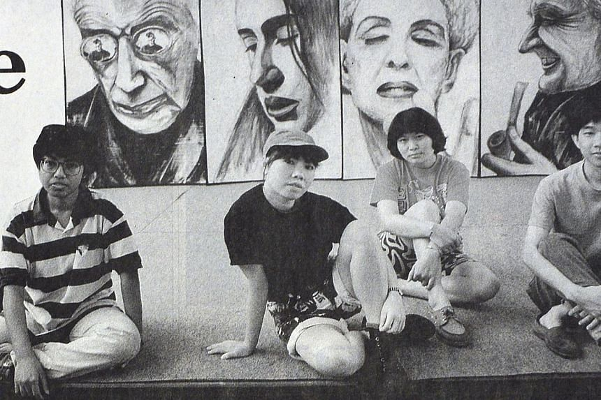 Suzann Victor as a child, with fellow Lasalle student Daniel Wong standing in front of their paintings exhibited at the National Museum Art Gallery in 1989, and Victor (above, second from left) with friends (from far left) Susie Lingham, Han Ling and