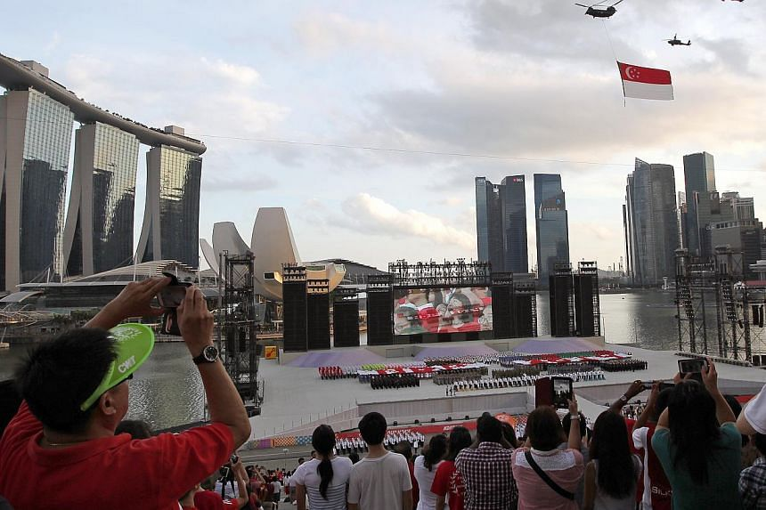 The Second National Education show for NDP 2014 held at the Float at Marina Bay on Jul 19, 2014. -- ST PHOTO: NEO XIAOBIN