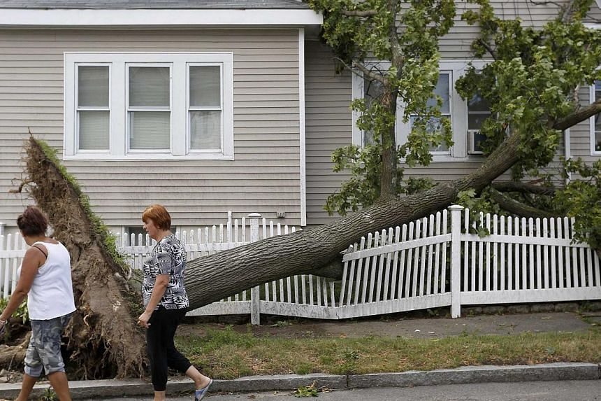Women walk past a fallen tree after a storm on Wilson Street in Revere, Massachusetts, July 28, 2014.Officials and residents in the Boston-area city of Revere were picking up the pieces early on Tuesday after it was raked by a rare tornado that