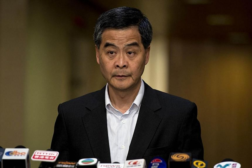 Hong Kong's Chief Executive Leung Chun-ying speaks at a press conference on political reform in the southern Chinese city, at the government headquarters in Hong Kong on July 19, 2014. Hong Kong's leader declared a planned occupation of the city