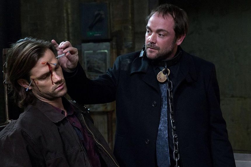 Supernatural fans look forward to second-guessing every move made by Mark Sheppard (right) as the demon Crowley, with Jared Padalecki (left) as Sam Winchester. -- PHOTO: AXN