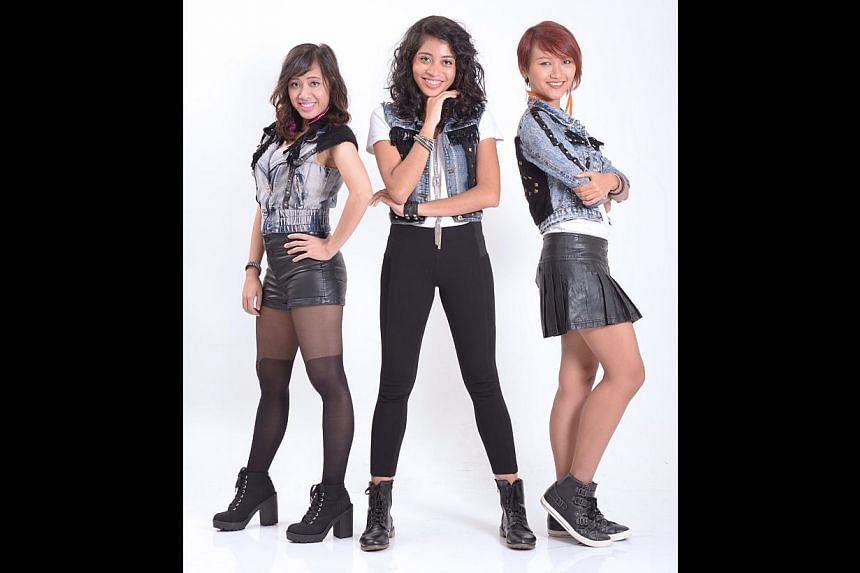 (From left) Sophie Soh, Siti Nur'Ain and Salima Nadira formed SASS just seven months ago. -- ST PHOTO: LIM SIN THAI