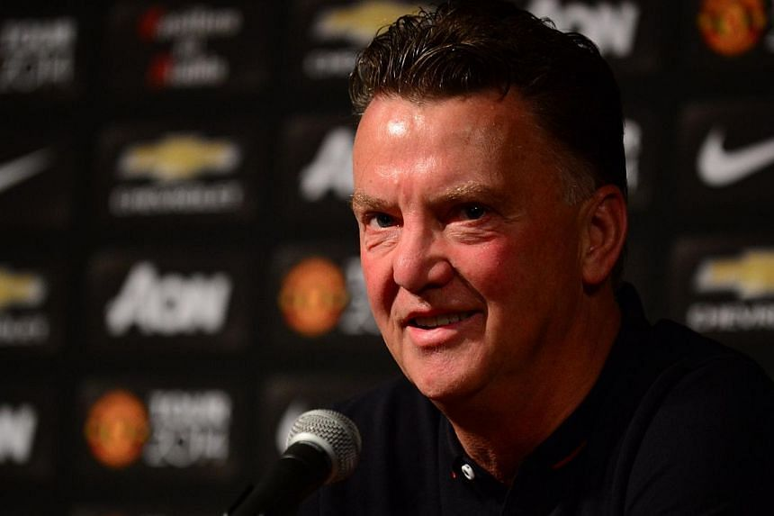 New Manchester United coach Louis Van Gaal speaks during a press conference at the Rose Bowl in Pasadena, California on July 22, 2014. -- PHOTO: AFP