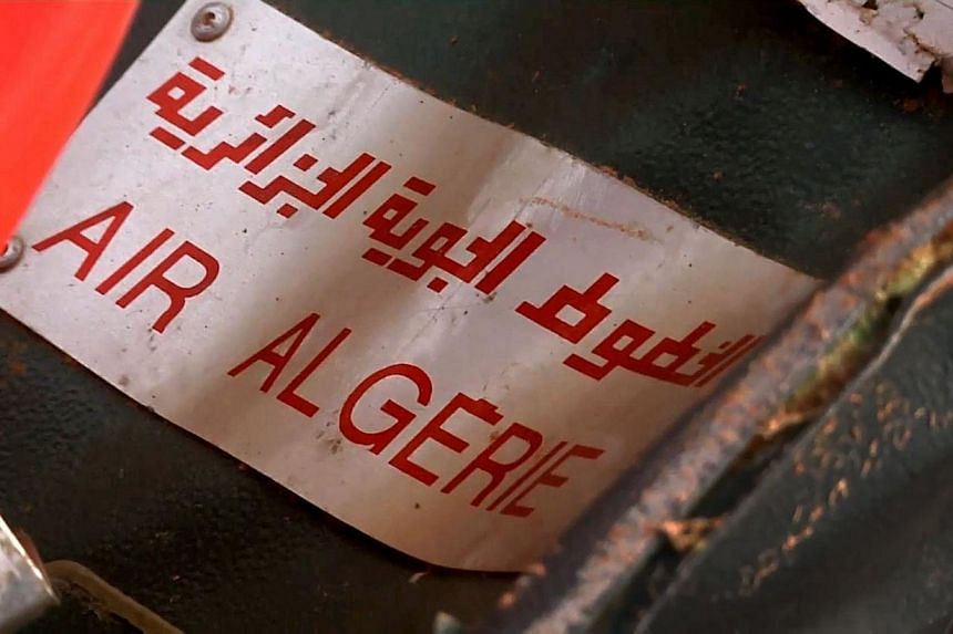 This image grab made from a handout video filmed and released by the French Etat-Major des Armees (EMA) / Armee de Terre on July 25, 2014 shows an Air Algerie sign on a piece od debris at the crash site of the Air Algerie flight AH5017 in Mali's Goss
