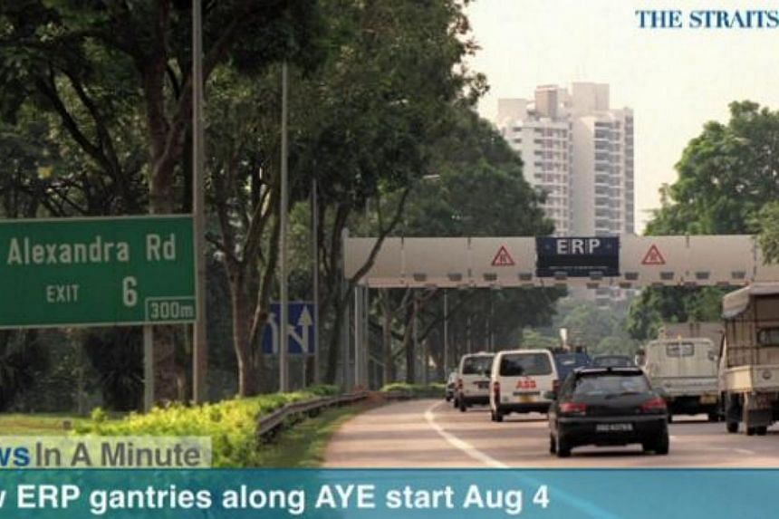 In today's The Straits Times News In A Minute video, we look at when four new Electronic-Road Pricing gantries along the Ayer-Rajah Expressway will begin operations. -- PHOTO: SCREENGRAB FROM RAZORTV