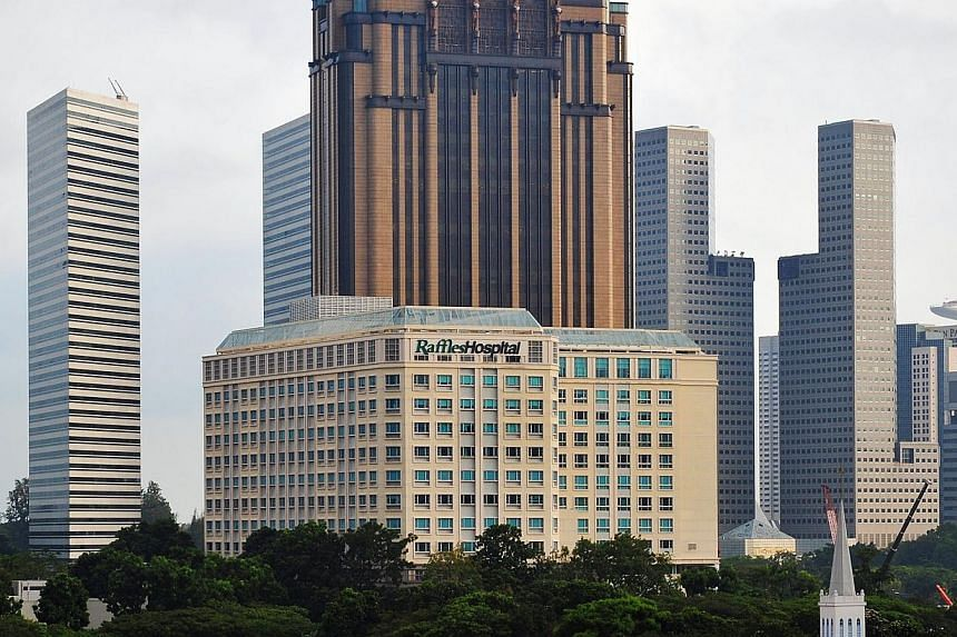 The Raffles Hospital on North Bridge Road in this 2011 file photo. Increasing patient numbers and new corporate contracts helped lift Raffles Medical Group's net profit for the second quarter to $15.7 million, an 8.1 per cent rise from the same perio