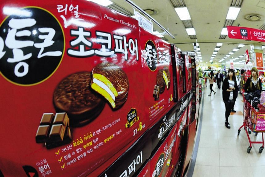 Lotte Mart's Choco Pies are displayed at a discount store in downtown Seoul. South Korean activists on Wednesday launched balloons across the border with North Korea carrying thousands of Choco Pies - a favoured chocolate snack that has become the
