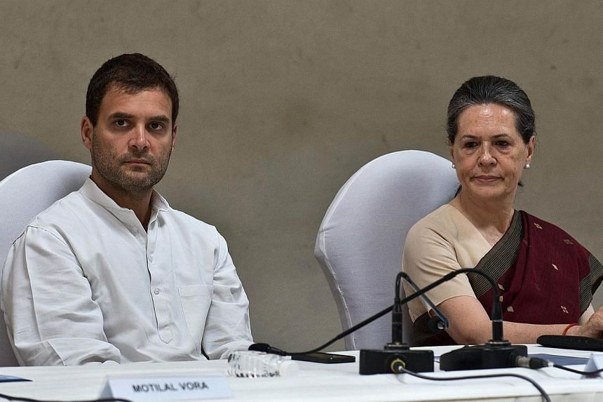 Congress party president Sonia Gandhi (right) and vice-president Rahul Gandhi attend the Congress Working Committee (CWC) meeting in New Delhi on May 19, 2014.Mrs Sonia Gandhi's shock decision not to take over as India's prime minister a decade