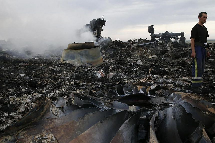 An Emergencies Ministry member walks at the site of a Malaysia Airlines Boeing 777 plane crash near the settlement of Grabovo in the Donetsk region on July 17, 2014. Loud explosions on Thursday, July 31, 2014, rocked the area around the crash si