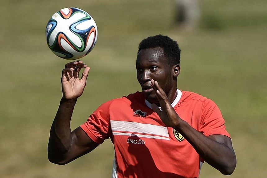 Belgium's forward Romelu Lukaku attends a training session during the 2014 FIFA World Cup in Mogi das Cruzes on July 3, 2014.Everton broke their club transfer record on Wednesday when they paid 28 million pounds (S$59 million) to sign Belgium s