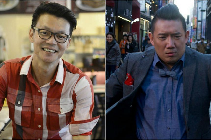 Singapore's comedy king Mark Lee (left) will be paired with Hong Kong's comedy king Chapman To in upcoming local flick King Of Mahjong. -- PHOTOS: DESMOND LIM/SHAW ORGANISATION