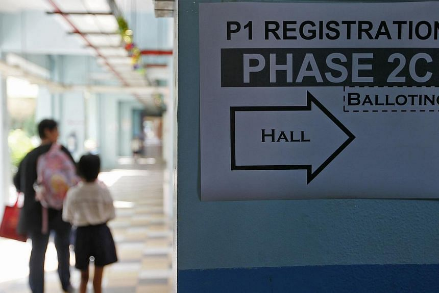 A sign directing parents to the primary one registration phase 2C. Ninety-one primary schools, including Temasek Primary, Mee Toh School and Nan Chiau Primary, were oversubscribed when the most competitive portion of the annual Primary 1 registration
