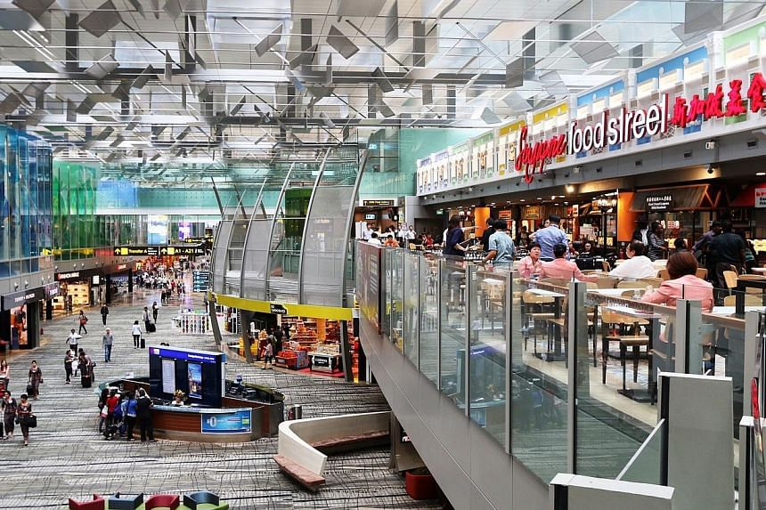 Singapore Food Street at the third level of the transit hall in Terminal 3. -- PHOTO:CHANGI AIRPORT GROUP