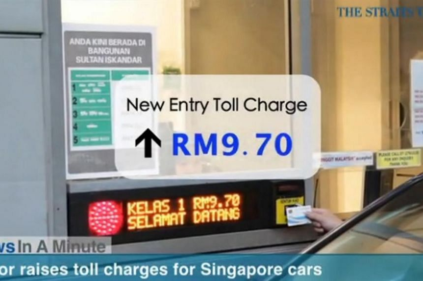 In today's The Straits Times News In A Minute video, we look at Singapore cars paying RM16.50 for a round trip to Johor, up from the previous RM2.90, among other issues.-- PHOTO: SCREENGRAB FROM VIDEO