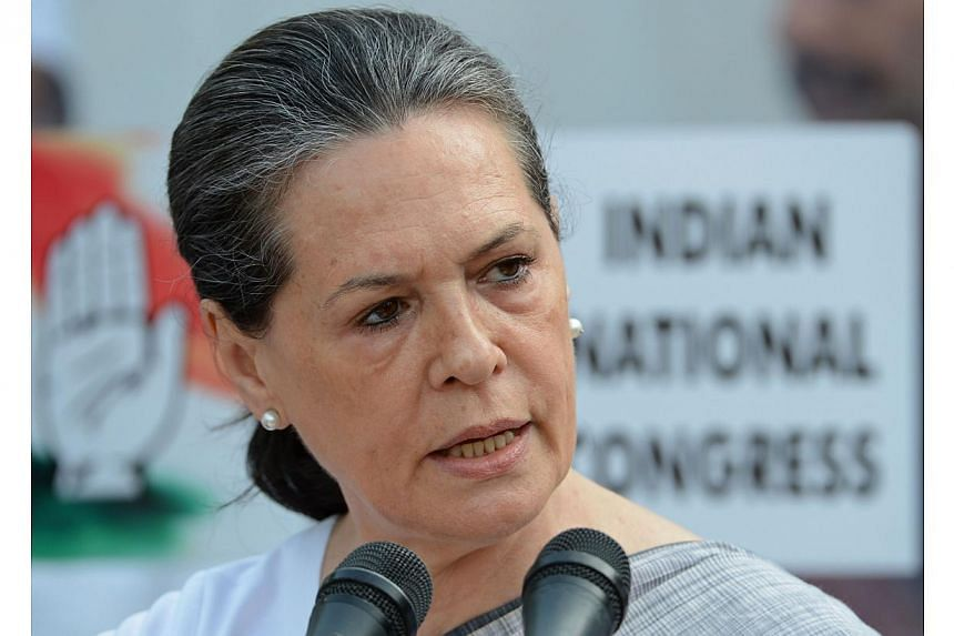 India's Congress Party President Sonia Gandhi addresses a press conference at the party headquarters in New Delhi on May 16, 2014. -- PHOTO: AFP