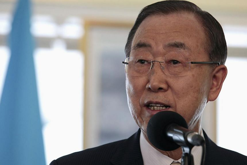 United Nations Secretary General Ban Ki Moon addresses the media on a visit to Nicaragua on July 29. He demanded on Friday that an Israeli soldier captured in Gaza be released immediately and condemned the reported ceasefire violation by Hamas.-- PHO