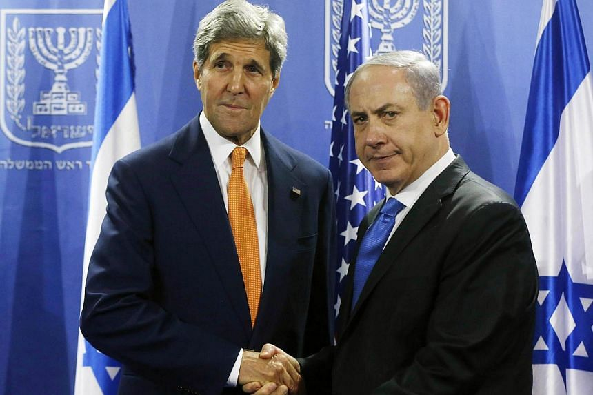 US Secretary of State John Kerry (left) meets with Israeli Prime Minister Benjamin Netanyahu in Tel Aviv on July 23, 2014. Israel eavesdropped on US Secretary of State John Kerry during doomed peace talks with the Palestinians last year, German