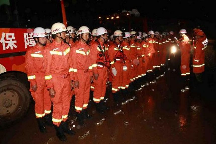 Fifty-four firemen and seven trucks of the fire brigade in Qujing city, Yunnan province, are sent to the disaster-stricken area after a 6.5-magnitude earthquake hit Ludian county in south-west China's Yunnan province on Aug 3, 2014. -- PHOTO: CHINA D